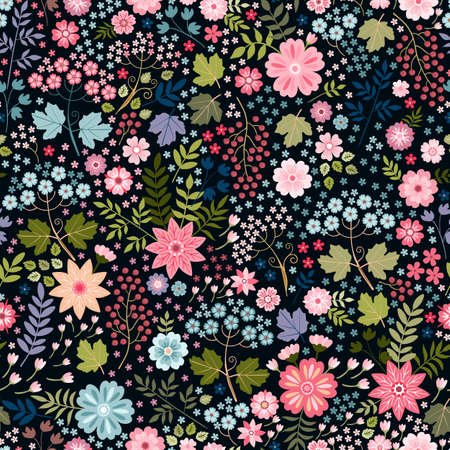Beautiful floral design. Ditsy seamless pattern with flowers, leaves and berries on black background. Print for fabric, textile, wrapping paper. Ilustracja
