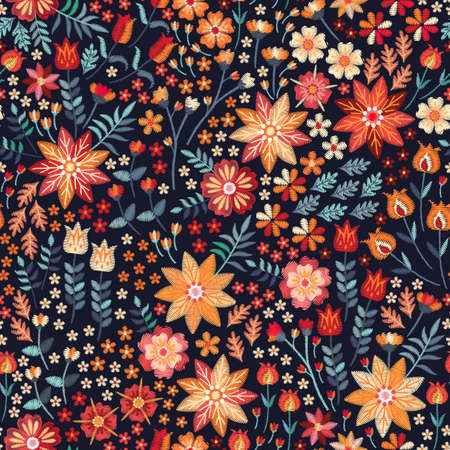 Embroidery seamless pattern with beautiful flowers and leaves in folk style. Print for fabric, textile. Vector embroidered floral design.