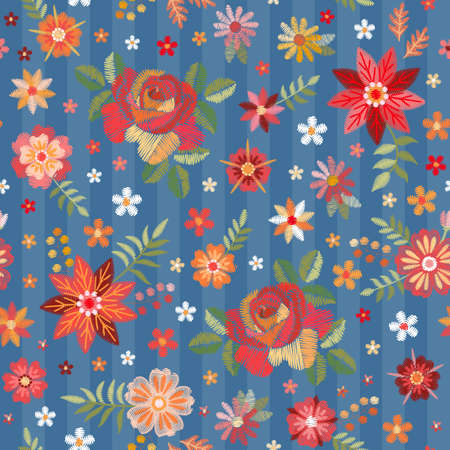 Embroidery seamless pattern with red roses and wild flowers on blue background Ilustracja
