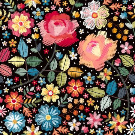 Bright colorful seamless pattern with embroidery flowers, leaves and berries on black background. Vector design.
