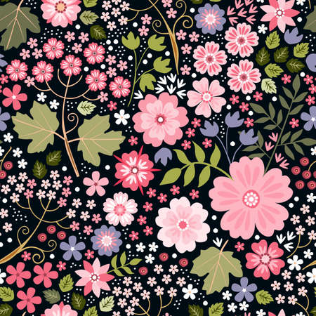 Ditsy seamless pattern with beautiful pink flowers on black background. Print for fabric, textile, wrapping paper. Vector illustration.