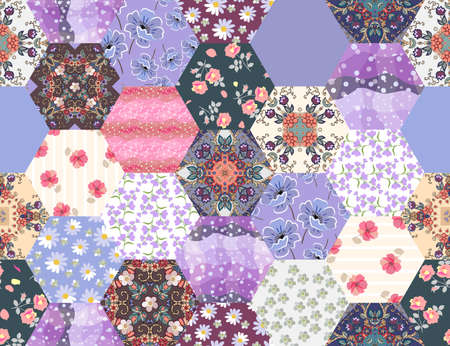 Patchwork seamless pattern from hexagonal patches with floral and geometric ornaments. Print for fabric. Ilustracja