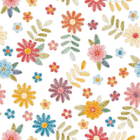 Embroidery seamless pattern with colorful flowers and leaves on white background. Summer print. Fashion design. Vector embroidered illustration.