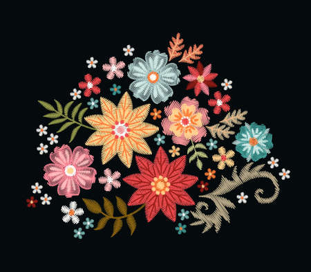 Embroidery bouquet of colorful flowers on black background. Vector fashion ornament.