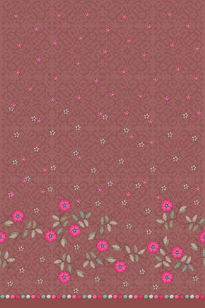 Beautiful seamless pattern with embroidery of pink flowers and green leaves on ornamental cross-stitch background. Print for fashion dress.