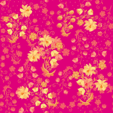 Beautiful seamless pattern with golden floral ornament on pink background. Fashion design for fabric, textile, wrapping paper Ilustracja