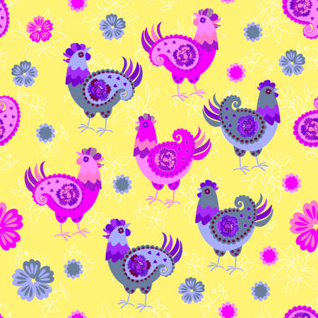 Cheerful chickens with wings in shape of paisley and little flowers on yellow background. Seamless decorative pattern. Print for fabric. Ilustracja