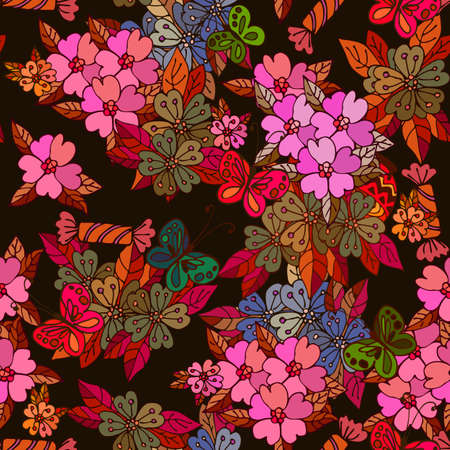 Butterflies, candy and flowers on black background seamless pattern. Summer festive print for silk fabric.