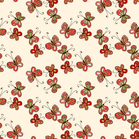 Seamless vector pattern with funny hand drawn butterflies. Print for fabric, textile, curtains, wallpaper, wrapping paper.