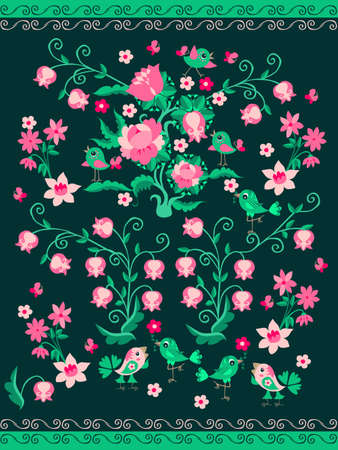 Fabulous ornament with birds, butterflies, flowering plants on a green background. Kawaii pattern for baby. Carpet, quilt, towel, wallpaper, curtain.