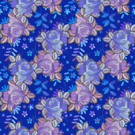 Embroidered seamless pattern with diagonal lines from roses flowers on blue background with floral ornament. Ilustracja