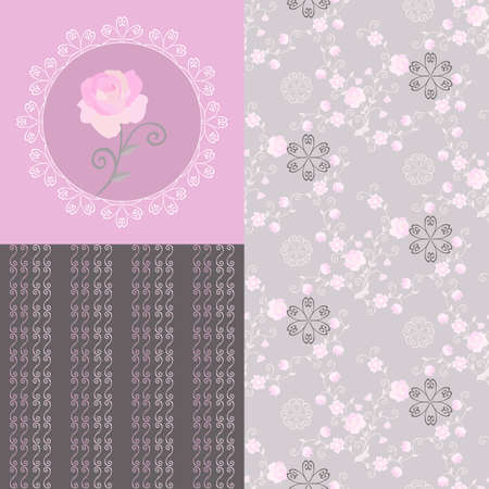 Print with light pink flower on lace background and two delicate seamless patterns for women's underwear. Beautiful collection in romantic style. Vintage motifs.