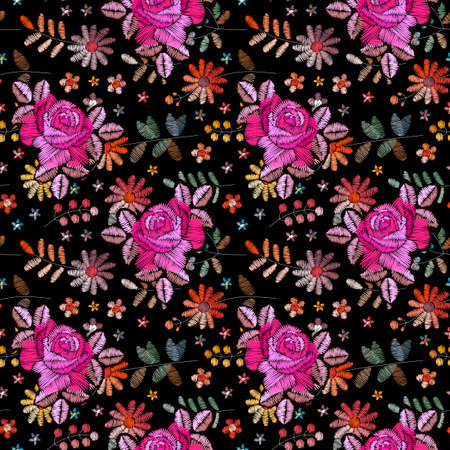 Two layered embroidery with roses on the background of wild flowers. Floral seamless pattern. Fashionable design. Print for fabric and textile.