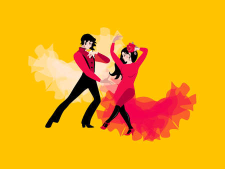 Beautiful young couple in traditional Spanish costumes dancing flamenco. Girl and young man isolated on a yellow background. Stylish postcard. Wedding invitation. Poster.