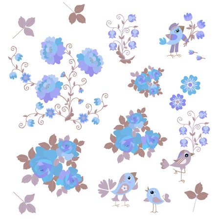 Endless pattern with kawaii little birds, bouquets of flowers and falling leaves isolated on white background. Design elements, print for baby fabric.
