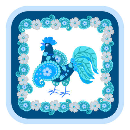 Bully rooster, assembled from colorful patches in blue and saphire colors. Patterned frame made of flowers and paisley. Pattern for pillowcase, napkin, hot plate, mouse pad in Russian folk style.