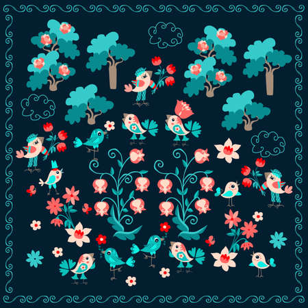 Kawaii pattern with cute cartoon birds on a blooming meadow in a summer forest. Print for cushion, carpet, doily for your baby. Ilustracja