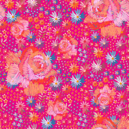Bright summer seamless pattern with embroidered flowers. Big roses on the background of floral ornament. Print for fabric.