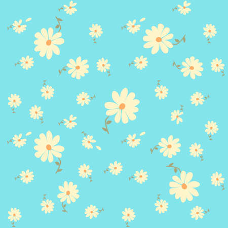 Floral seamless pattern with cute daisy flowers on light blue background.