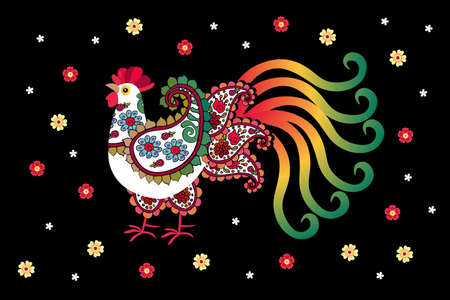 Adorable white cockerel with a rainbow tail and paisley-shaped wings and small flowers isolated on black background. Beautiful print for fabric, poster, card, mouse pad.