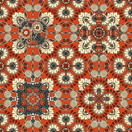 Seamless ornamental pattern with floral and paisley motives. Tapestry, print for fabric, carpet.