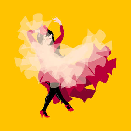 A young gypsy girl, dressed in a dark pink dress and holding a white transparent shawl, is dancing flamenco.