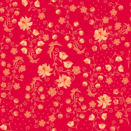 Seamless horizontal pattern with bouquets of fabulous flowers on a raspberry background. Russian folk motives.