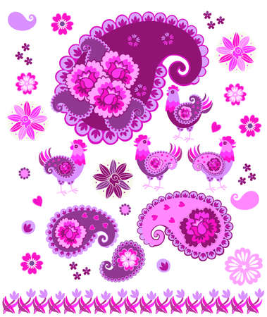 Design elements: bright purple paisley, hearts, flowers and funny hens, isolated on white background.
