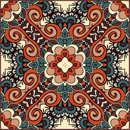 Ceramic tile with ethnic motifs. Square pattern with symmetric ornament. Decorative cushion, carpet, rug. Ilustracja