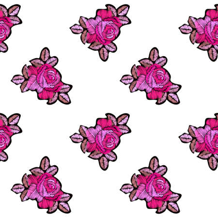 Embroidery pink rose flowers on white background. Floral seamless pattern. Print for fabric, textile, curtains.