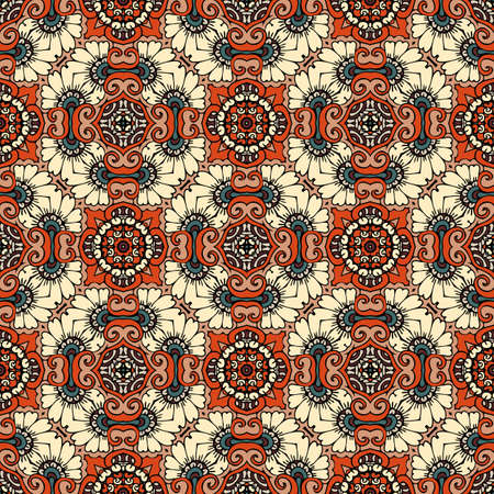 Decorative seamless pattern with repeat ornament in ethnic style. Vector design. Print for fabric, textile, carpet, rug, curtains.