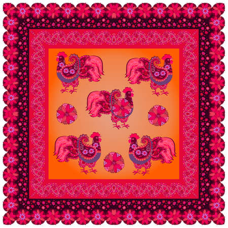 Tablecloth, napkin, pillowcase or carpet with patterned roosters in folk style and bright floral frame. Ilustracja