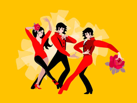 Beautiful young people - two men and one woman - dancing together. Romantic relationships, love, love triangle, psychology.
