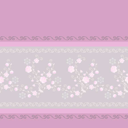 Seamless border with delicate floral ornament. Print for fabric, dress, curtains. Vector design with light pink flowers. Ilustracja