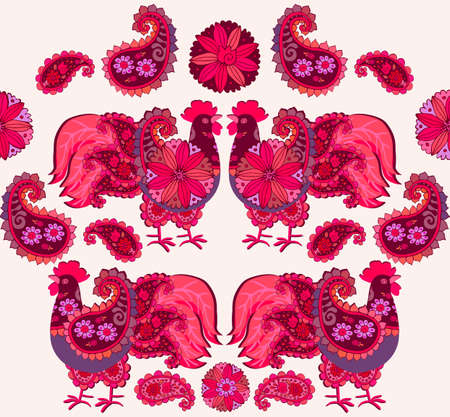 Red-tailed badass roosters painted in folklore style. Bright seamless pattern.