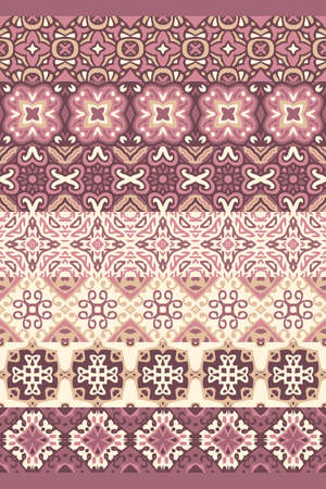 Abstract ornament for ceramic tiles. Decorative elements cocoa with milk color and coffee with milk color. Mediterranean, Portuguese, Moroccan, Persian motives. Ilustracja