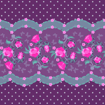 Romantic horizontal seamless pattern with fancy bouquets of bright pink garden flowers on lilac polka dot background. Fabric print, packaging design.