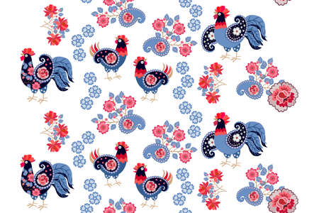 Charming seamless ornament with patterned cockerels and hens, flower garlands, bouquets and paisley on a white background. Magic print for fabric, wallpaper in Russian folk style.