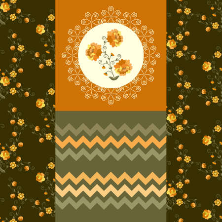 Beautiful collection of three matching fabrics. Print for t - shirt or pocket and two seamless pattern. Yellow roses on dark green background and chevron pattern against dusty green backdrop.
