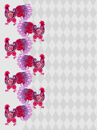 A vertical border of fancy-style cockerels on a silvery-gray rhombus background. Fabulous pattern for wallpaper, curtains.