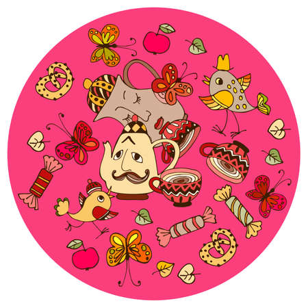 Funny round pattern with a jug, teapot, cups, funny birds, sweets, cookies and butterflies on a pink background. Cushion, pillowcase, doily for baby. Ilustracja