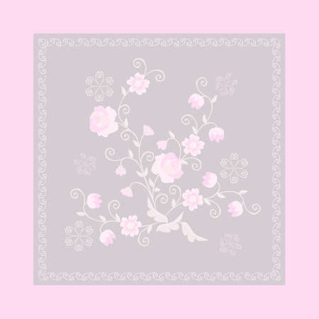 Drawn delicate bouquet of roses and other pink flowers on a light gray background in an openwork frame with a lavender color border. Print for pocket, pillowcase, handkerchief, napkin, potholder.