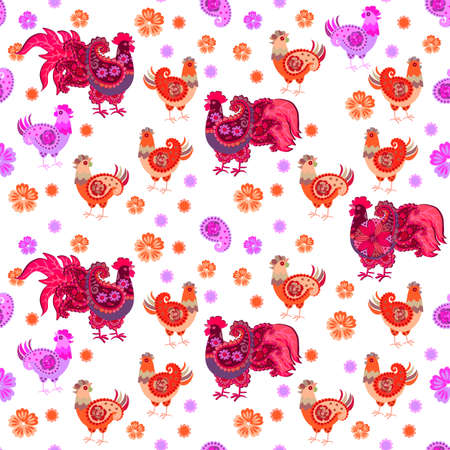 Patterned roosters and hens with wings in shape of paisley on white background. Seamless animals pattern. Home textile, wallpaper. Decorative illustration.