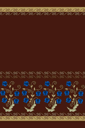 Charming stylized lilies of the valley with blue flowers and a beautiful curl border on a brown background. Endless pattern, towel print.