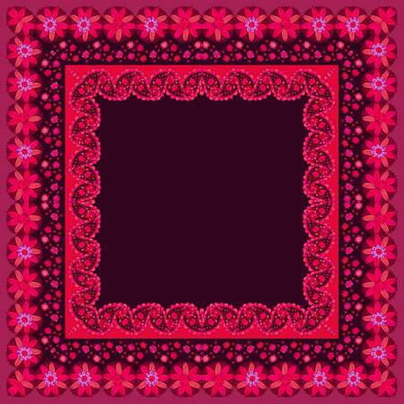A scarf, napkin or square rug with an ornamental border of flowers and paisley and an empty brown center. Ilustracja