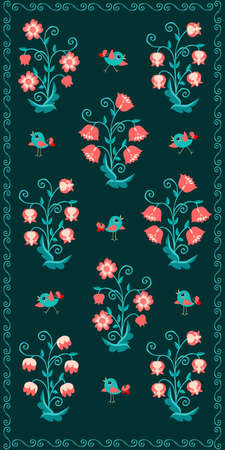 Cute cartoon birds and fabulous flowers on a green background. Kawaii print for towel, wallpaper. A wonderful pattern that your child will love.