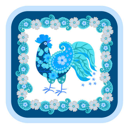 Ð¡ute cartoon blue cockerel made from scraps of fabric with a paisley wing and a comb of flower petals isolated on a white background and a patterned frame of flowers and paisley around.