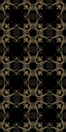 Ornamental seamless pattern with decorative grid on black background.