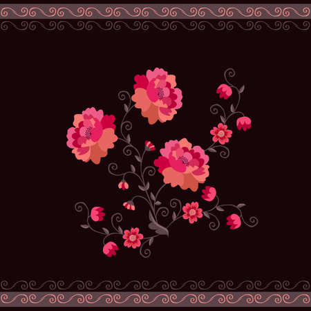 Graceful bouquet of red poppy flowers isolated on black background and beautiful border of curls. Vector illustration. Design elments. Ilustracja