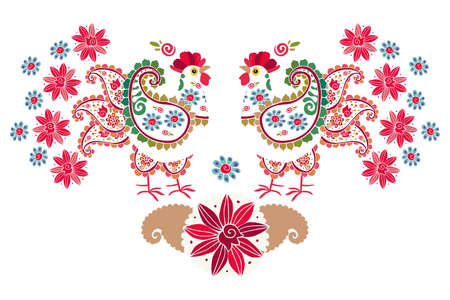 Symmetrical ornament of two white patterned roosters with paisley-shaped wings and tails on white background. Russian country motifs. Design elements. Ilustracja